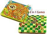 TOWO Juegos de Mesa 2-en-1 de Serpientes y Escaleras y un Laberinto Magnetico de...