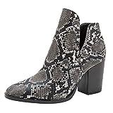 Brillanto Botines Mujer Serpiente Botas Mujer Invierno Tacon Ancho Zapatos de Vistir...