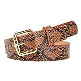 CHIC DIARY - Cinturón de piel de serpiente para mujer Marrón marrón claro Talla...