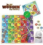 The Wooden Toy Factory - Juego de Mesa de Madera 2 en 1 - Serpientes y Escaleras /...
